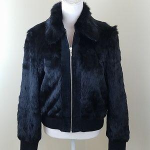 Mixit Medium Black Rabbit fur and leather jacket
